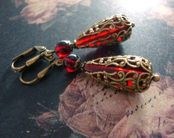 Romantic Red Victorian Earrings - Garnet Red and Bronze Gothic Filigree Earrings - Antiqued Brass - Red Vintage Style Leverback Earrings