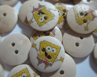 Set of 5 - Lovely Cute - SpongeBob Square Pants - Cartoon Character - 2 Hole Fasten Style - 18 mm - Buttons