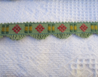 Vintage Woven Trim Upholstery Drapery Trim Home Decor Sewing 1930s Green Yellow Rose Red Turquoise Craft Supplies Scrapbooking 5 yds