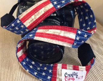 Camera Strap - Handmade - American Flag
