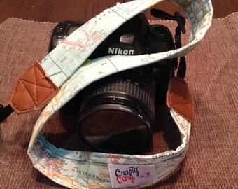 Camera Strap - Handmade - World Map