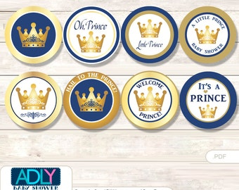 Prince  Royal Cupcake Toppers for Baby Shower Printable DIY, favor tags, circles, It's a  Prince ,  Blue -   ao107bs0