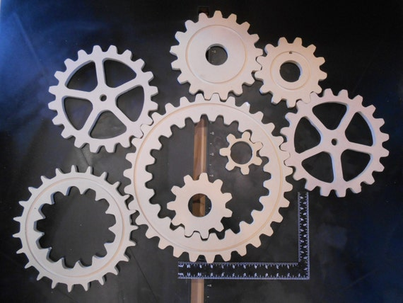 Large Wood Gears Cogs Eight 8 Of Them