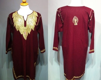 Vintage Burgundy Kaftan Women