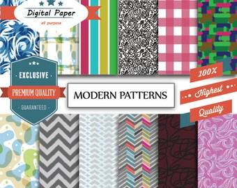 Modern Patterns Digital Paper in light and dark patterns digital download