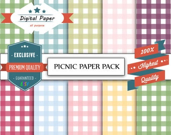 Picnic Paper Pack Digital Paper, Scrapbooking, 10 sets, 10 inches by 10 inches