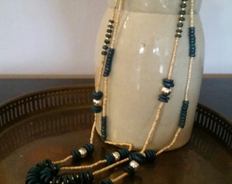 Vintage Boho Long Layered Double Strand Beaded Necklace Green & Gold