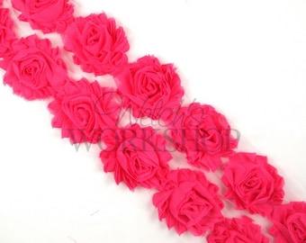 """Hot Pink - 1 Yard Solid Shabby Trim - 14 Chiffon 2.5"""" Rosettes - Y-SST-011"""