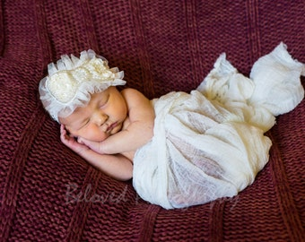 Ivory Chiffon Pearl Bow Headband Infant Headband, Toddler Headband, Baby Headband, Photo Prop