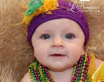 Newborn-Adult Crochet Mardi Gras Hat, Purple Baby Beanie Hat,  Infant , Mardi Gras, Crochet Cap, Winter Hat, Hand Crochet Winter Hat