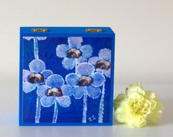 Blue Jewellery Wooden Box, Electric Blue Storage Box with Floral Art Print, Hand Painted Jewellery Box, Artwork Wooden Box