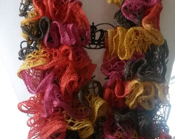 Pink, brown, yellow and red ruffle scarf, knit scarf, womens scarf