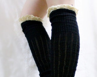 Long Lace Knitted Leg Warmers, Lace Leg Warmers, Ruffle Lace Trim, Boot Topper with Lace, Christmas Gift, Knitted Lace Socks, For Her, Cute