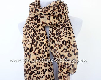 Leopard Scarf, Brown Leopard Scarf, Fall Scarf, High Fashion Scarf with Leopard Print, Christmas Gift, Women's Accessory, Women's Scarf