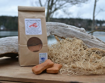 Lobster Treats for Salty Dogs. We developed the recipe for dog biscuits made with Maine lobster. Dog tested and approved!
