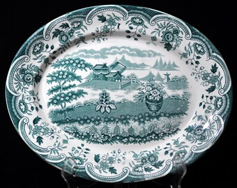 Lg. Antique Turquoise platter, English, Vintage platter, china, porcelain, England