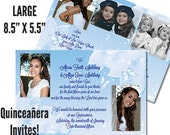 "Qty. 300 Quinceanera Invites LARGE 8.5"" X 5.5"" printed full color both sides"