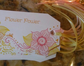 FLOWERS Gift Tags - Set of 8 with Matching Ribbons - Spring - Summer