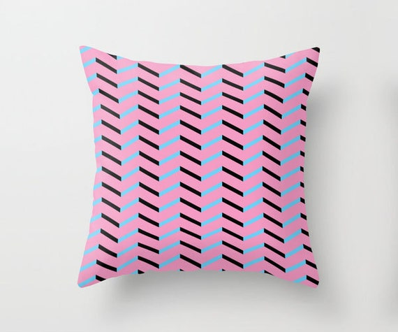 Blue and Black Chevron on Hot Pink Pillowcase