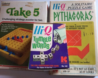 Puzzle Games by Hi Q Tumble Words Pythagoras Take 5 words vintage collectible
