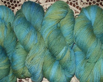 7 Skeins Sport Weight Wool Yarn  Multi Colored  Hand Dyed  6 Skeins Green Blue Colors