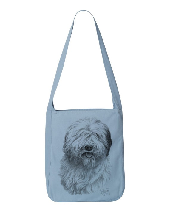 Old English Sheepdog Dog All Purpose - 100% Cotton Canvas Sling Bag