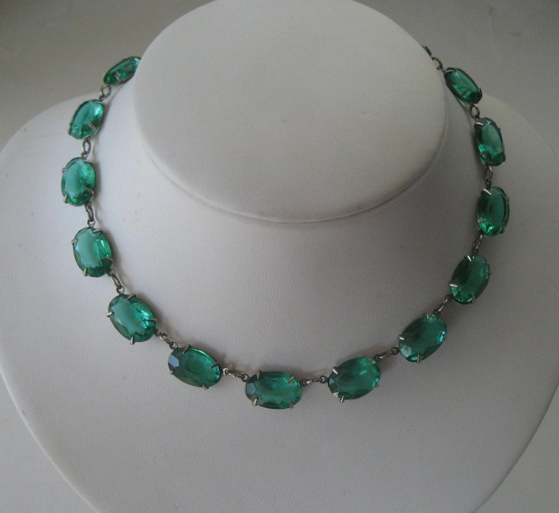Art Deco Open Back Bezel Emerald Green By Extraordinary4you