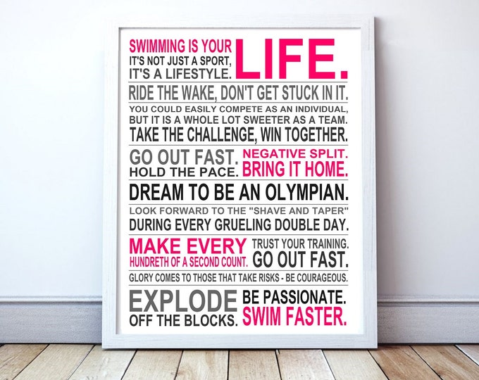 Swimming Is Your Life - Custom Manifesto Poster Print
