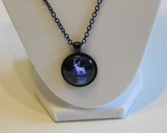 Glowing Deer Glass dome necklace