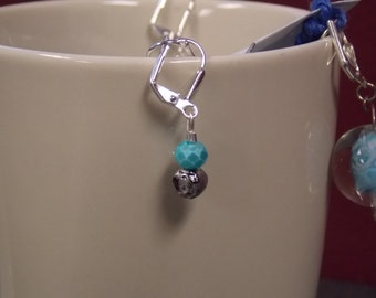 Small blue and sliver earrings
