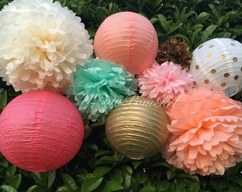 GOLD DUST / 5 tissue paper pom poms/5 paper lanterns / wedding decorations, baby shower, nursery decor, birthday decorations, bridal shower
