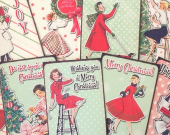 Christmas card toppers vintage retro ladies for scrapbooking tags and craft projects
