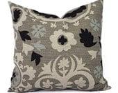 Two Decorative Throw Pillow Covers - Pillow Covers Burlap - Black and Cream Suzani Pillows - Pillow Sham - Pillow Case - Pillow Cover
