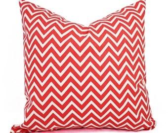 Two Coral Throw Pillows - Coral Pillows - Chevron Pillows - Decorative Throw Pillows - Coral Pillow Sham - Coral Accent Pillows - Lumbar