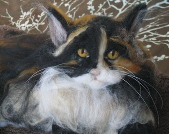 Handmade Needle Felted Animal Wool Cat/Custom/Pet