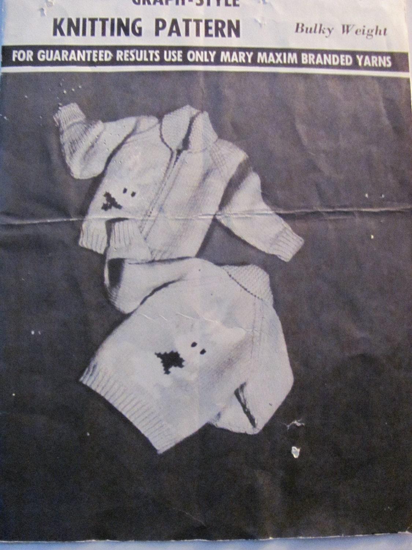 Graph Style Knitting Pattern : Mary Maxim Graph Style Knitting Pattern 4092 Childrens