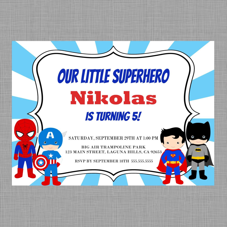 Superhero Birthday InvitationSuperhero invitation Spiderman