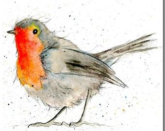 Robin Greeting Card - Bird Card, Blank Inside, Garden Bird