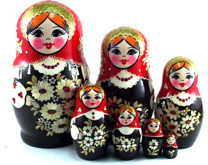 Art Nesting Dolls 7 pcs Inlaid Russian Matryoshka doll Traditional babushka doll Russian stacking dolls for kids Wooden doll Uzor