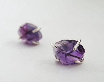 Raw Amethyst Stud Earrings Sterling Silver Earrings Gemstone Jewelry by SteamyLab