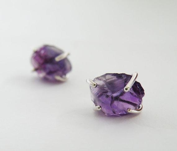 raw amethyst stud earrings sterling silver earrings gemstone