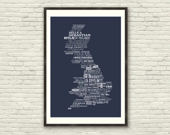 The Music of Britain - Limited Edition British Typographic Poster Print (A3)