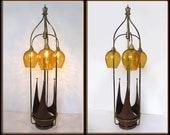 60s Mid Century Danish Modern Tall 3 Light Waterfall Lamp Orange Glass Globes