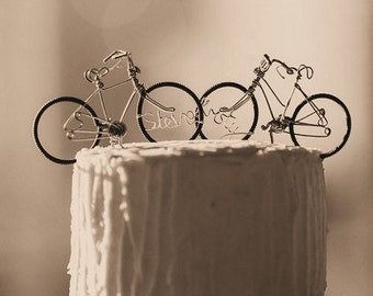 Mr and Mrs wire Wedding cake topper bicycles