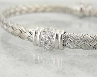 Vintage White Gold And Diamond Bangle Bracelet-P8476Y