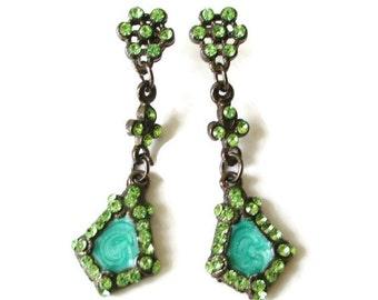 Vintage Gunmetal  Green Rhinestone Green Enamel  Pendant Earrings
