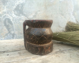 Antique Ottoman wood mortar,Small wooden old mortar,