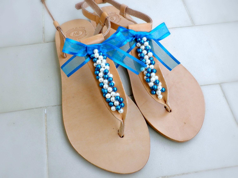 Wedding Shoes Bridal Flats Bridesmaids Sandals Blue White