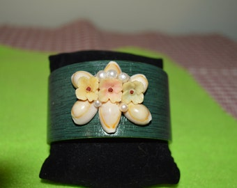 Cowrie Wooden Cuff Bracelet with Vintage Accents