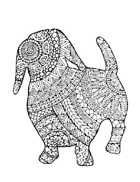 Coloring Pages For Adults Of Dogs : Items similar to dog coloring page print and color